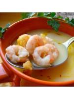 Суп сырно-креветочный с гренками